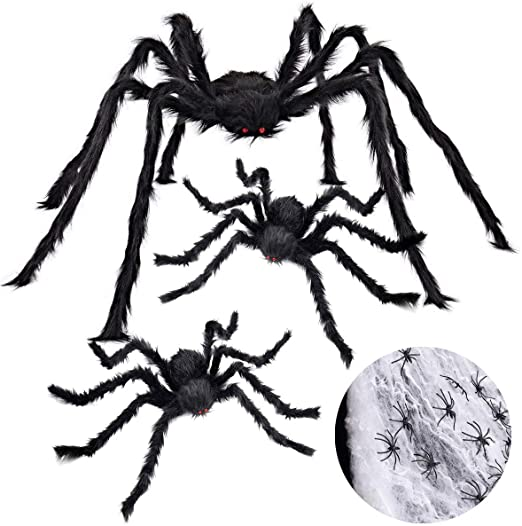 iZoeL Halloween 200cm Giant Spider 75cm Middle Spiders, 40g Spider Cobweb, 30pcs Plastic Spiders, Creepy Fake Spiders Prop Party Supplies for Outdoor Indoor Yard Home Party Decorations (Black) 1