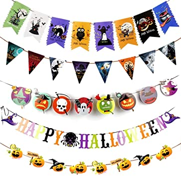 N/D Besylo Happy Halloween Party Decorations Set,5pcs Halloween Paper Banner,Weapons, Pumpkins, Colored Letters, Triangles, Fishtail Flags,Hanging Bunting Decorations For Halloween Supplies Party 1