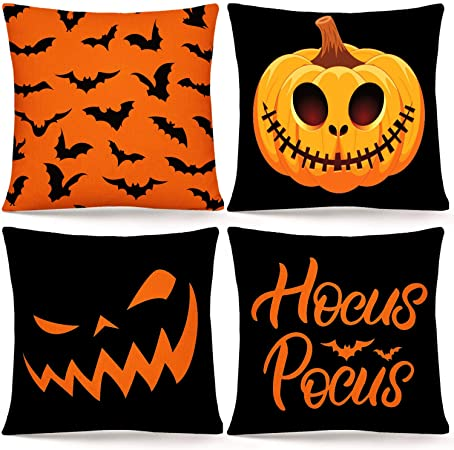 "Whaline Halloween Pillow Cover Orange Black Pillow Case Pumpkin Bat Hocus Pocus Throw Cushion Cover Linen Cushion Cases for Home Office Halloween Sofa Bed Decoration, 18"" x 18""(4Pcs) 1"