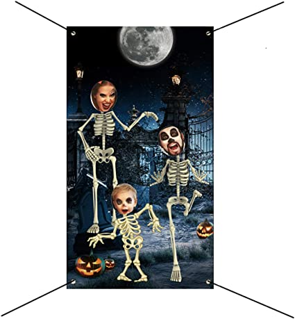QICIG Halloween Photo Background Cloth-Skeleton Backdrop Supplies Halloween Photo Door Banner Photo Props for Large Halloween Party Decoration 1