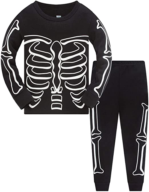 Boys Pyjamas Halloween Glow in The Dark Costumes for Kids Skeleton Bones Nightwear Cotton Toddler Clothes Girls Fun Sleepwear Unisex Long Sleeve 2 Piece Outfit Pjs Sets 1