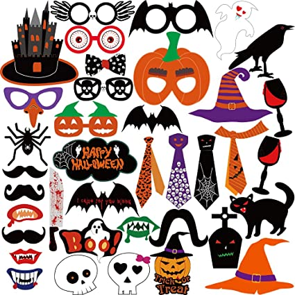 KUUQA Halloween Photo Booth Props Kit Halloween Party Decorations, Pack of 38 1