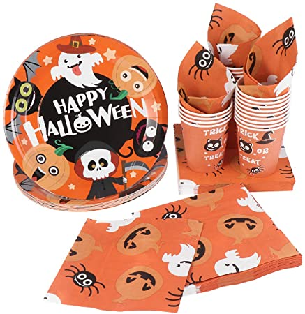 Hemoton Paper Tableware set for Halloween Nightmare Party Supplies with 24pcs Plates 24pcs Cups and 48pcs Napkins 1