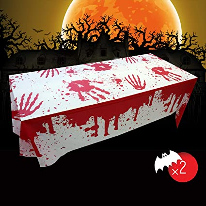 Halloween Blood Tablecloths, Tablecloth Bloody Creepy, Halloween Party Decoration Bloody Tablecloth, Halloween Tablecloth for Outdoor / Indoor Halloween Party Decoration(106.3inch * 53.9inch) (2 pack) 1