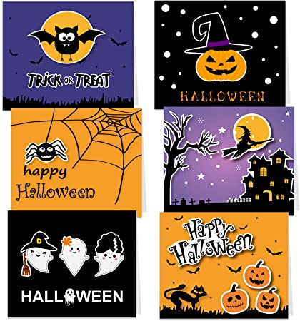 TUPARKA 30 Pack Halloween Greeting Cards with Envelopes and Halloween Stickers, 6 Halloween Designs 1