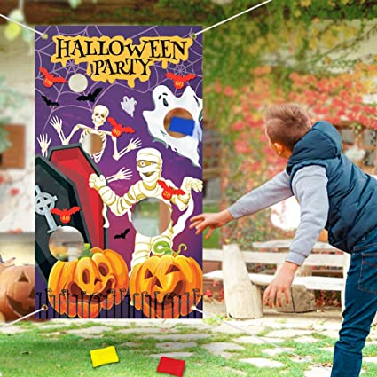 Achort Halloween Toss Games Banner with 3 Bean Bags Halloween Party Activities Decoration Kids Game Banner Indoor and Outdoor Supply Set with 21.2ft Ribbon for Children Adults 53.1 * 29.5in 1