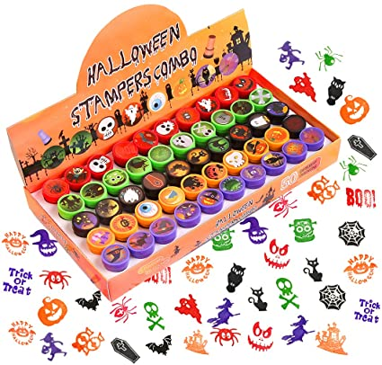VEYLIN Halloween Stamps for kids, Assorted 50 Washable Plastic Self-ink Stampers for Crafting Holiday Party Supplies 1