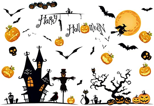 Davicher Halloween Window Cling Stickers Static Resuable Scary Clings Decals Halloween Party Decorations Pumpkin Ghost Skull Clings Stickers 1