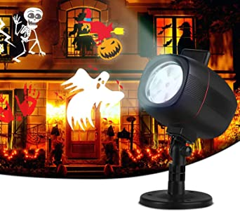 OUSFOT Halloween Christmas Projector Lights LED 2-in-1 Installation Projector with 16 Switchable Patterns, IP65 Waterproof Projector for Outdoor Indoor Christmas Party Garden Home Patio Decorations 1