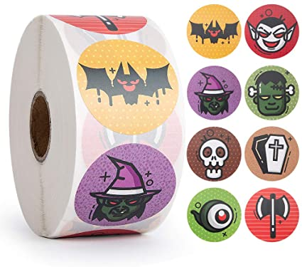 1000pcs Halloween Stickers Party Pack, Non-Toxic Stickers for Kids, Witch, Bat for Halloween Party Decorations, Halloween Favors for Boy and Girls 1