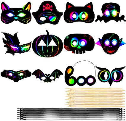 Cooraby 12 Set Rainbow Scratch Art Mask Magic Scratch Paper DIY Mask Halloween Indoor Art Craft Kit and Party Decorations 1