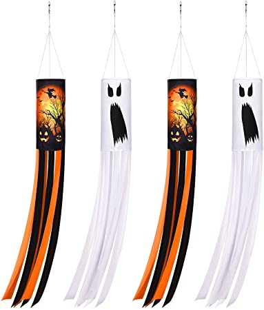 4 Pieces 40 Inch Halloween Pumpkin Ghost Windsock Flag Halloween Outdoor Hanging Decoration Halloween Theme Windsock Flag for Garden Patio Lawn Front Yard Party Decoration 1