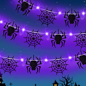 Halloween Lights with Spider and Spider Web Decor 9.8 Feet 30 LED Fairy Lights String 2 Modes Battery Halloween String Lights for Halloween Thanksgiving Garden Indoor Outdoor Decorations (Purple) 1