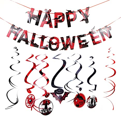 YINETTECH 10pcs Halloween Swirl Banner Haunted Zombie Decoration Set Festival Party Venue Layout Props Red Haunted Decoration 1