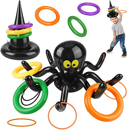 Qpout 2 IN 1 Halloween Games Set,Inflatable Spider Ring Toss Game,Witch Hat Ring Toss Gamewith 8 Rings for Kids Toy Carnival School Outdoor Indoor Lawn Garden Backyard Spooky Creepy Game 1