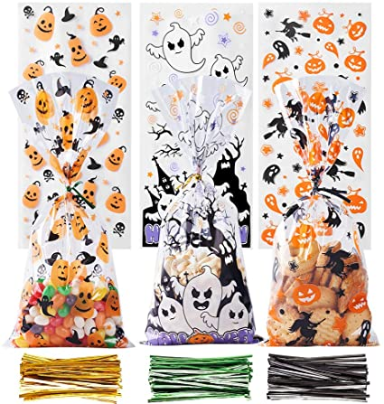 VEYLIN Cellophane Treat Bags, 150 Pack Clear Sweet Bags with 300 Twist Tie for Halloween Party Supplies, 3 Styles 1