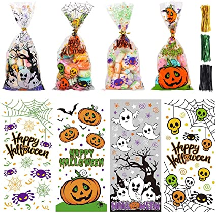 DIYASY Halloween Cellophane Bags, 200pcs Pumpkin Ghost Candy Treats Clear Cellophane Party Gift Bags for Halloween Party Favors and Trick or Treat 1