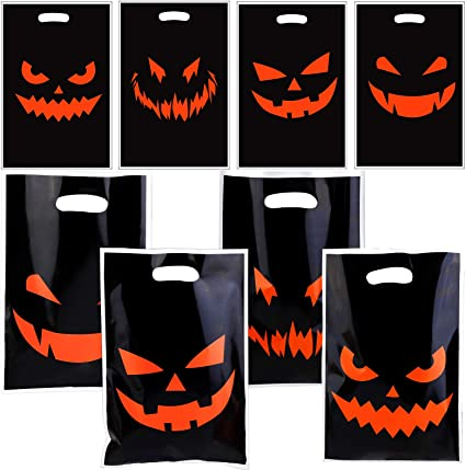 Aneco 40 Pieces Halloween Pumpkin Smiley Face Plastic Bags Black Candy Bags Halloween Party Bags for Halloween Party 1