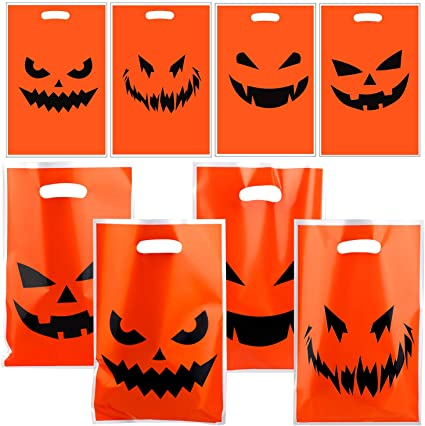 Aneco 40 Pieces Halloween Pumpkin Smiley Face Plastic Bags Orange Candy Bags Halloween Party Bags for Halloween Party 1