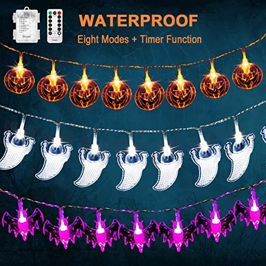 3 Pack Halloween Fairy String Lights Waterproof Battery Operated Halloween Decor Lights Orange Pumpkins Bats Ghosts 20 LEDs Each for Halloween Party Decorations Outdoor Indoor with Remote 1