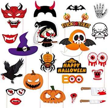 KUUQA Halloween Photo Booth Props 24 Pcs for Halloween Decorations 1
