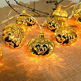 Ertisa Halloween String Lights, 4.5M 30 LED Halloween Pumpkin String Lights, Waterproof Battery Powered Pumpkin Fairy Lights Halloween Decorations for Garden Patio Party Indoor & Outdoor 1