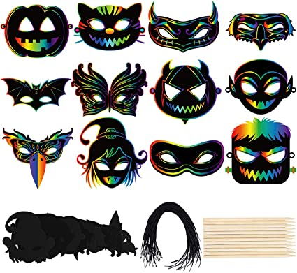Cooraby 12 Set Scratch Art Masks Halloween Pattern Design Magic Rainbow Scratch Paper DIY Masks for Halloween DIY Craft and Gifts 1