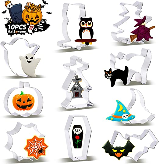 SYOSIN Halloween Cookie Cutter Set, 10 Pieces Biscuit Cutters for Kids, Fondant Cutters Halloween, Ghost Cookie Cutters Shapes, Pumpkin, Witch's Hat, Bat, Stainless Steel 1