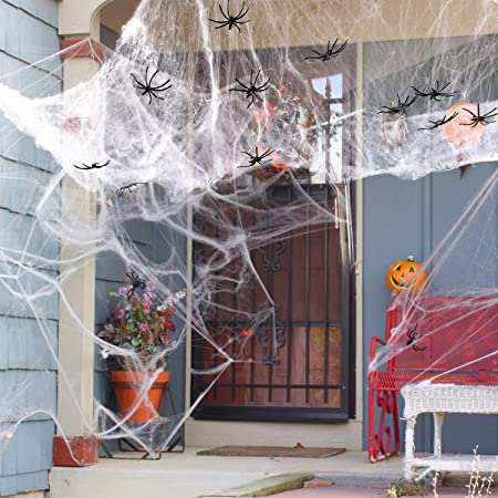 Drcurn 300g Halloween Spider Webs Stretchable Fake Cobwebs Webbing Decorations with 50pcs Plastic Spiders for Haunted House Decor Scary Scence Party Supplies 1