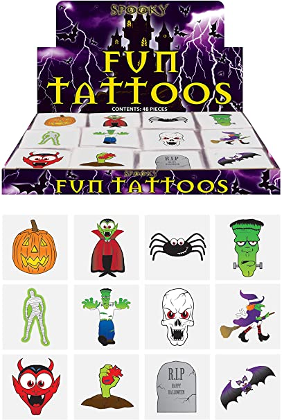 Henbrandt 24 Halloween Tattoos / Transfers Trick or Treat Party Bag Fillers 1