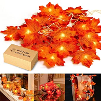 HENMI Maple Leaves Lights, Fall Garland with Lights, Maple Garland Harvest Autumn Leave Light for Halloween, Thanksgiving &Christmas (Warm White) 1