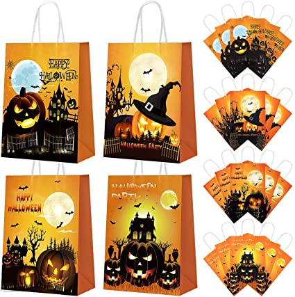 Cooraby 24 Pieces Halloween Kraft Paper Bags Trick or Treat Bags Pumpkin Paper Bags Halloween Candy Gift Bag for Party Supplies, 4 Styles 1