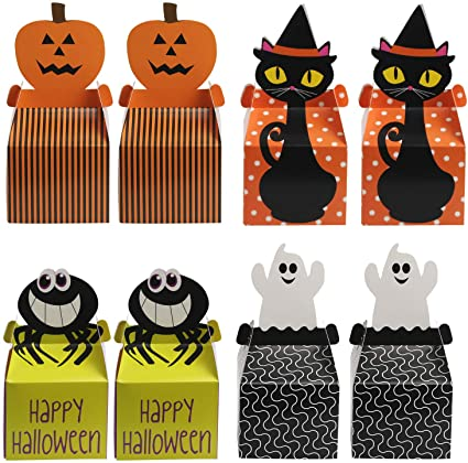 KATOOM 24pcs Halloween Candy Boxes,Trick or Treat Box Sweets Chocolate Gift Favor with Catoon Pumpkin,Ghost,Black Cat,Spider Pattern for Kids Halloween Party Supplies Decoration 1