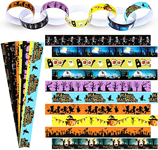 Elcoho 100 Pieces Paper Chains 10 Designs Halloween Patterns Paper Chains Creative Multi-Colour Halloween Paper Chains for Party Decoration 1