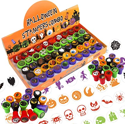 FINGOOO Halloween Assorted Stamps for Kids, 50 Pcs Self-Ink Stamps Halloween Design Plastic Stamps for Party Favor Party Bag Filler Supply 1