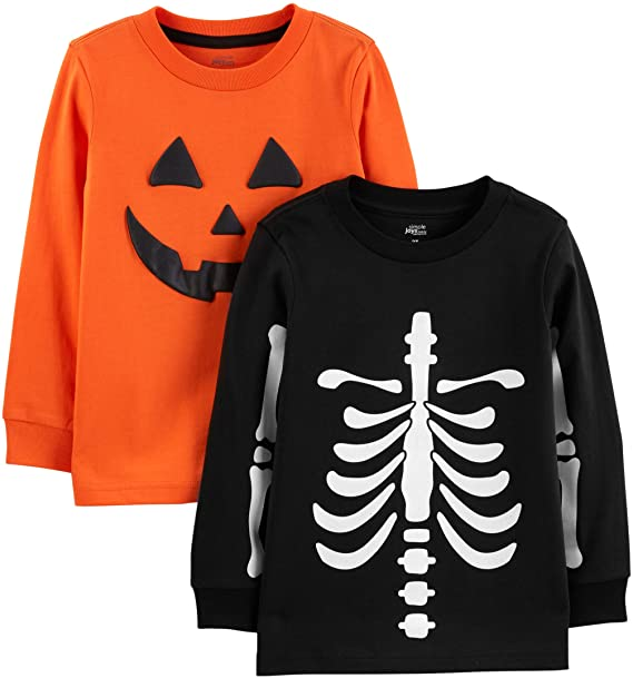 Simple Joys by Carter's Baby Boy's 2-Pack Halloween Long-Sleeve Tees, Pack of 2 1