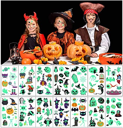 Halloween Tattoos for kids, 14 Sheets Luminous Tattoos Sticker Glow in the Dark Halloween Decorations Birthday Party Favors Supplies (tattoos for kids) 1