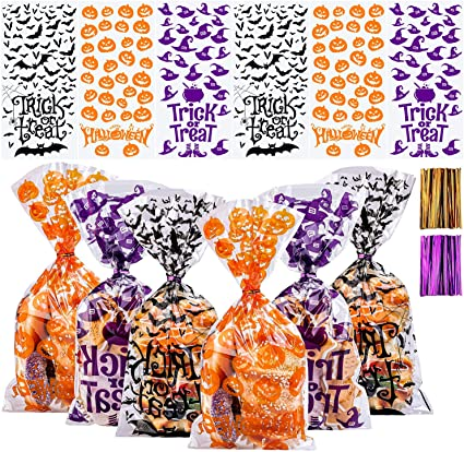 Aneco 150 Pack Halloween Candy Bags Cellophane Snack Bags Halloween Treat Bags Cookie Bags with Twist Ties for Halloween Party Favor 1