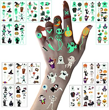 LessMo Halloween Temporary Tattoos, 10 Sheets Halloween Tattoos Stickers, Glow in the Dark Spider Pumpkin Waterproof Luminous Stickers Dance Theme Party Decorations for Adult and Kids gift 1