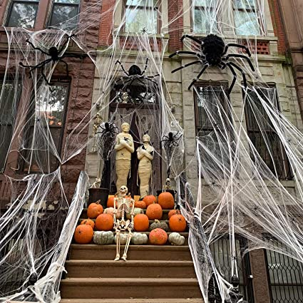 1400 sqft Halloween Spider Webs Decorations with 160 Extra Fake Spiders, Super Stretchy Cobwebs for Halloween decor Indoor and Outdoor 1