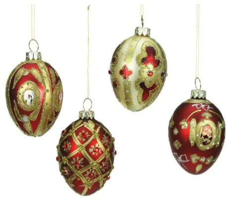 4 Red & Gold Glass Egg Christmas Decorations 7cm 1