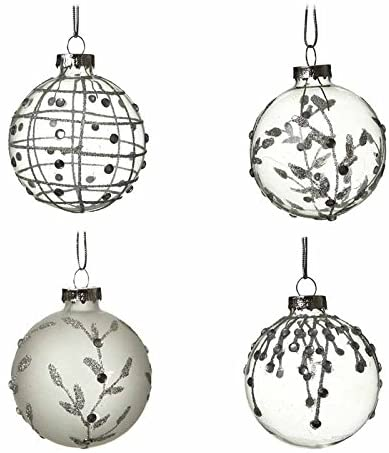 4 Frosted Glass Christmas Baubles 1