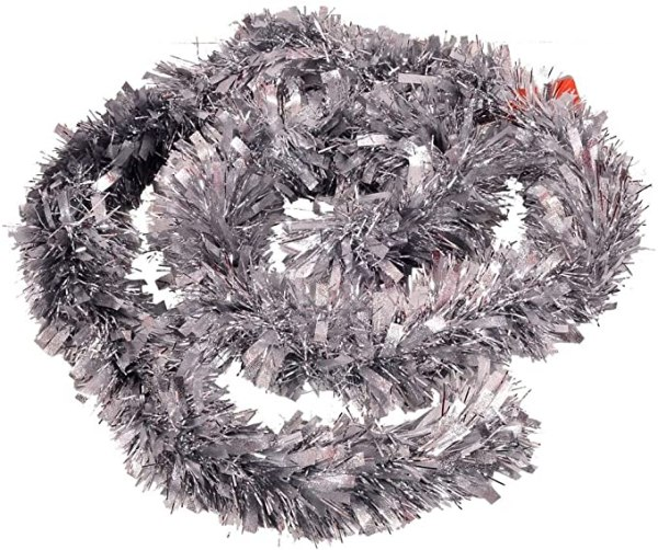 6ft5 by 11cm Deluxe Thick Chunky Wide Silver Shiny Glitter Tree 1