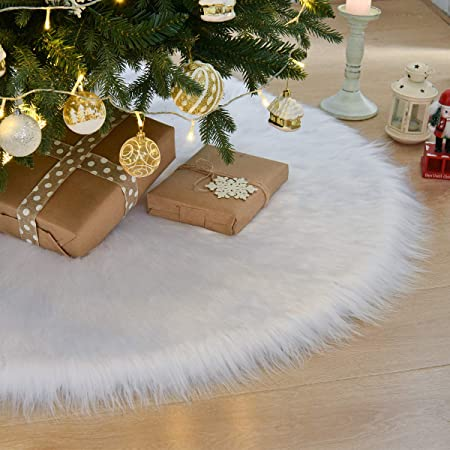 48 Inch Christmas Tree Skirt, Large Faux Fur White 1