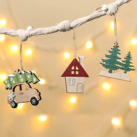 6 Pieces, Christmas Decorations Wooden Painted Car 1
