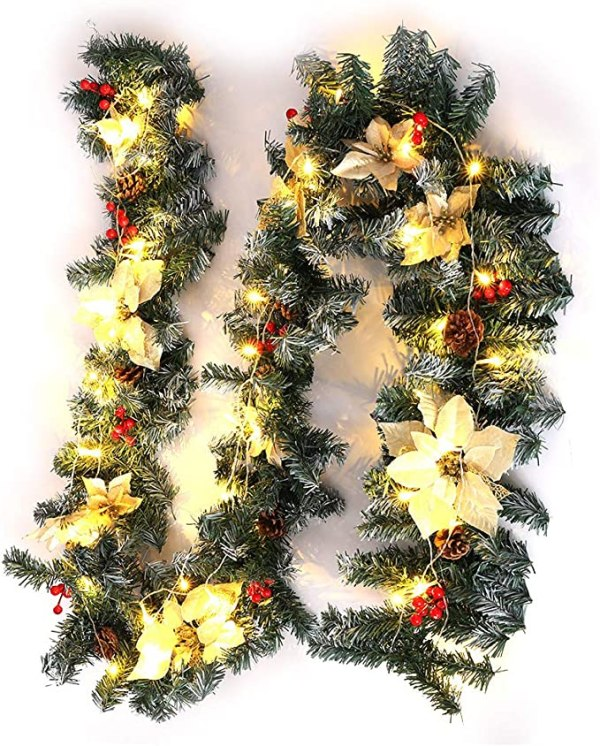 2m 7 Christmas Garland with Lights 50 LED lights Pine Cones 1