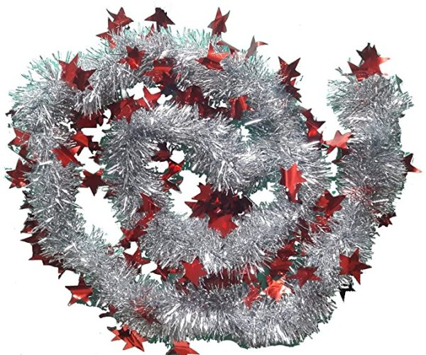 2m x 9cm Deluxe Thick Silver Glitter Christmas Tree Tinsel 1