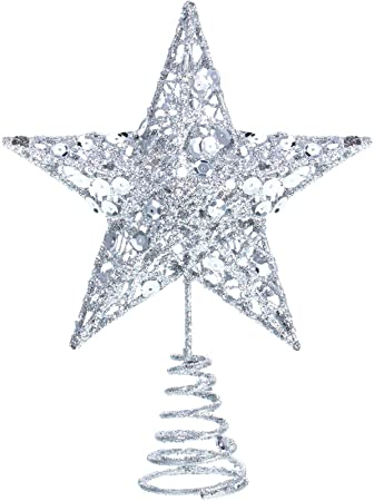 6 Inches Star Xmas Tree Topper Exquisite Shimmery 1