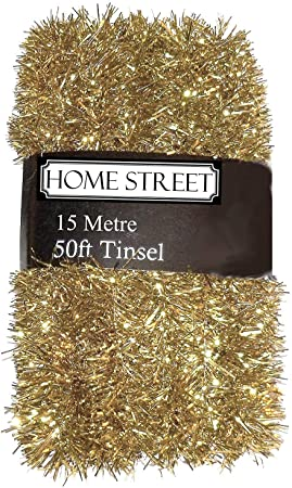 15 metre 50 foot Long Christmas Tinsel Red Silver or Gold 1