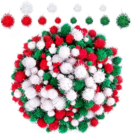 1200 Pieces Christmas Pom Poms Glitter Red White Green 1